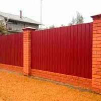 Забор с кирпичными столбами _6